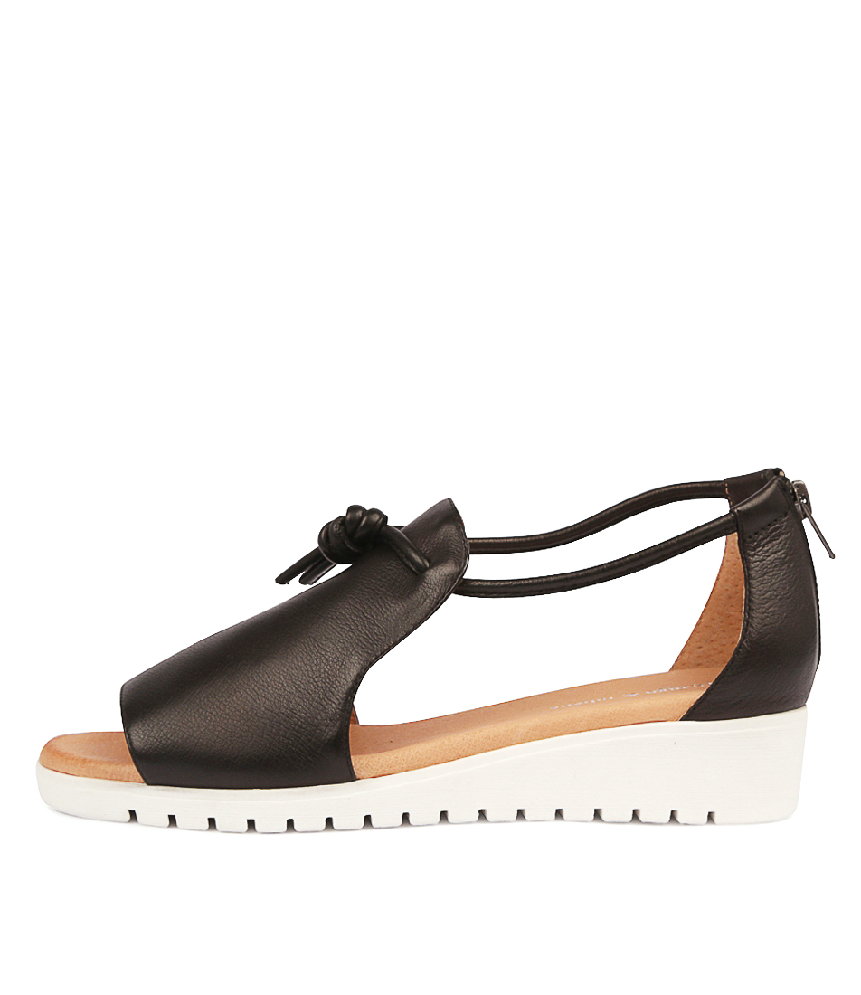 Buy Django & Juliette Melvin Black White Sole Flat Sandals online with free shipping