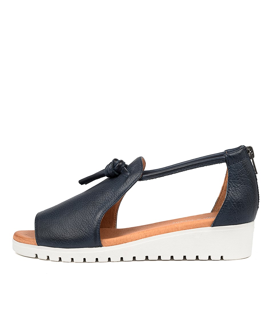 Buy Django & Juliette Melvin Navy White Sole Flat Sandals online with free shipping