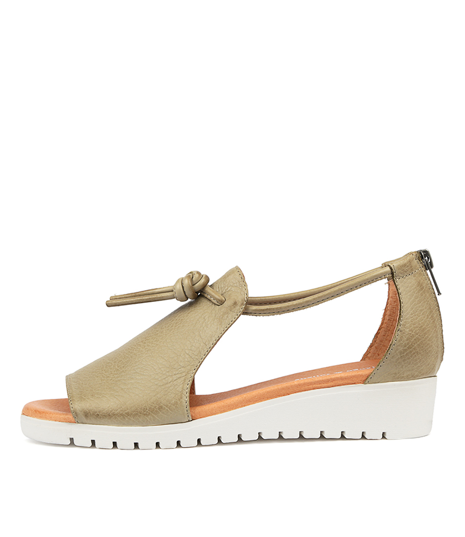 Buy Django & Juliette Melvin Khaki White Sol Flat Sandals online with free shipping