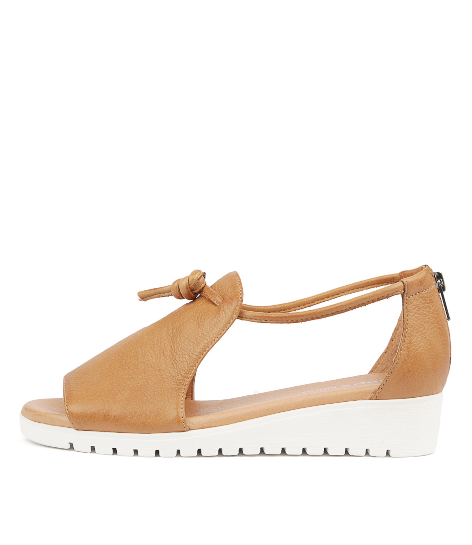 Buy Django & Juliette Melvin Dk Tan White Sole Flat Sandals online with free shipping