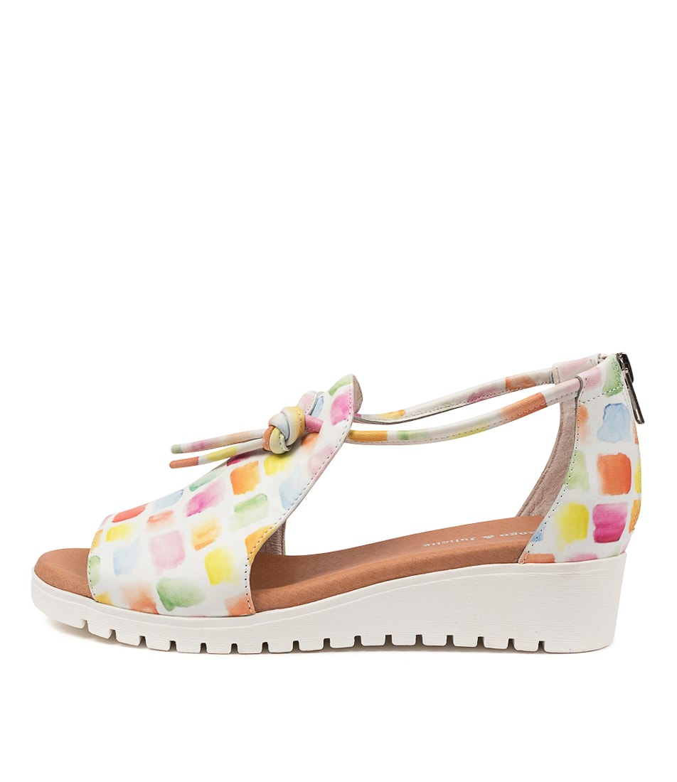 Buy Django & Juliette Melvin Paint Print White Sole Flat Sandals online with free shipping