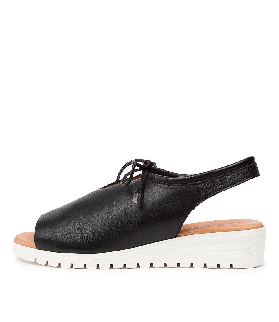 Buy Django & Juliette Monique Black White Sole Flat Sandals online with free shipping