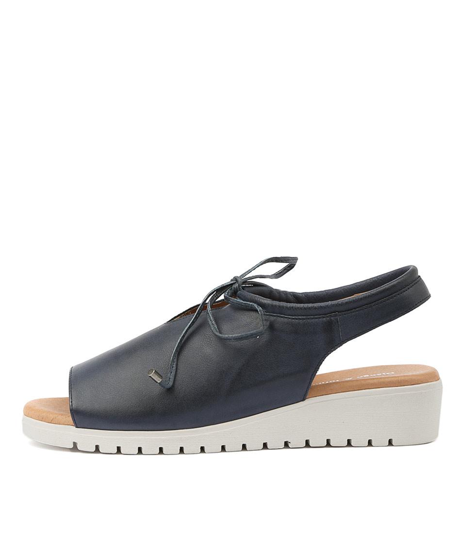 Buy Django & Juliette Monique Navy White Sole Flat Sandals online with free shipping
