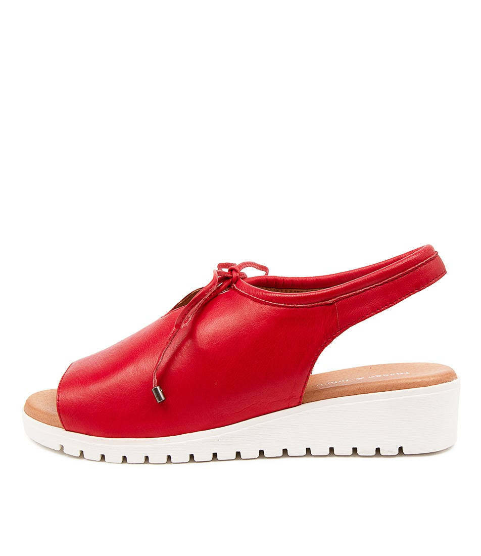 Buy Django & Juliette Monique Red White Sole Flat Sandals online with free shipping