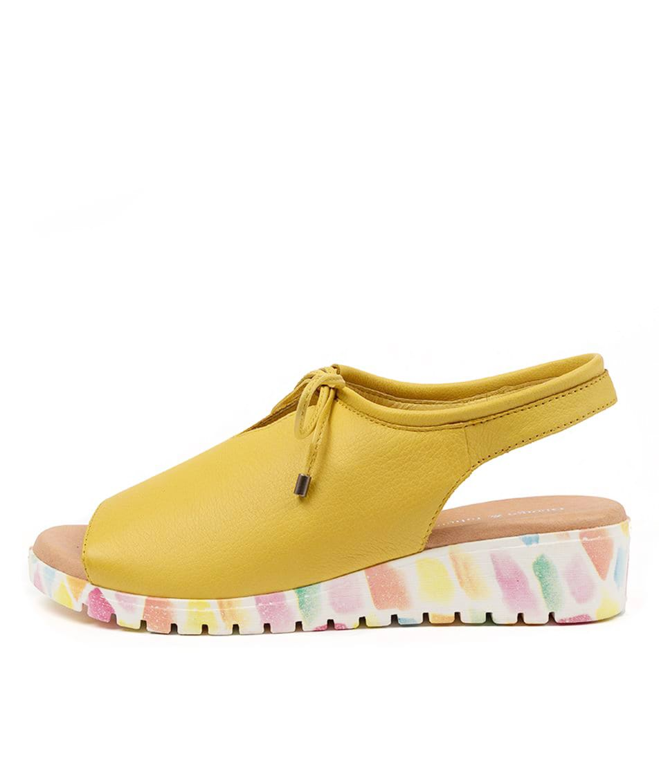 Buy Django & Juliette Monique Yellow Paint Sole Flat Sandals online with free shipping