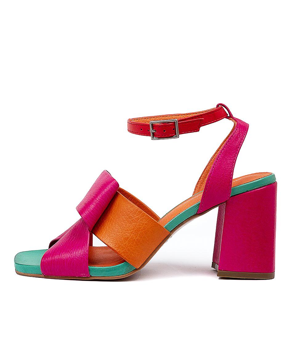 Buy Django & Juliette Renard Fuchsia Bright Orange Multi Heeled Sandals online with free shipping