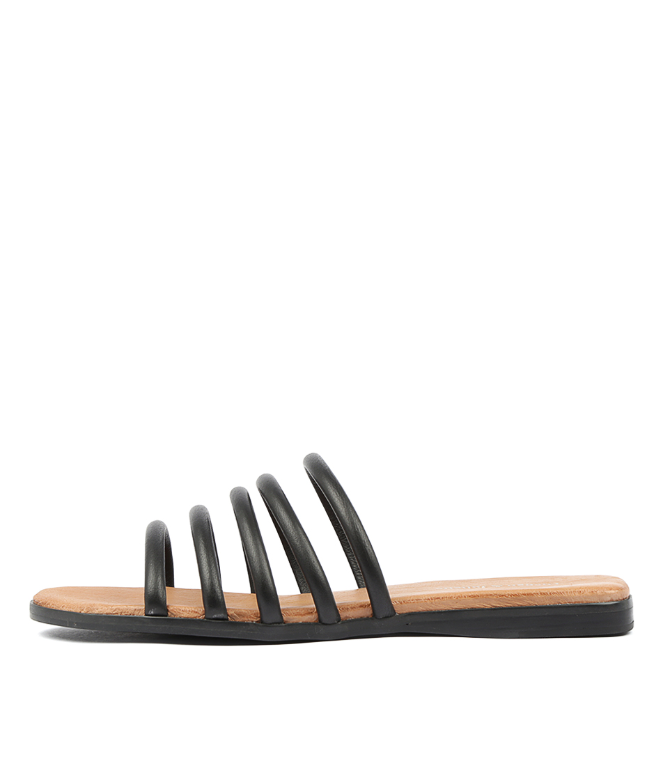 Buy Django & Juliette Tataly Black Tan Footb Flat Sandals online with free shipping