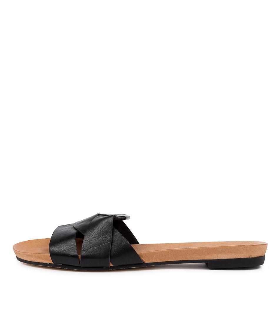 Buy Django & Juliette Just Black Flat Sandals online with free shipping