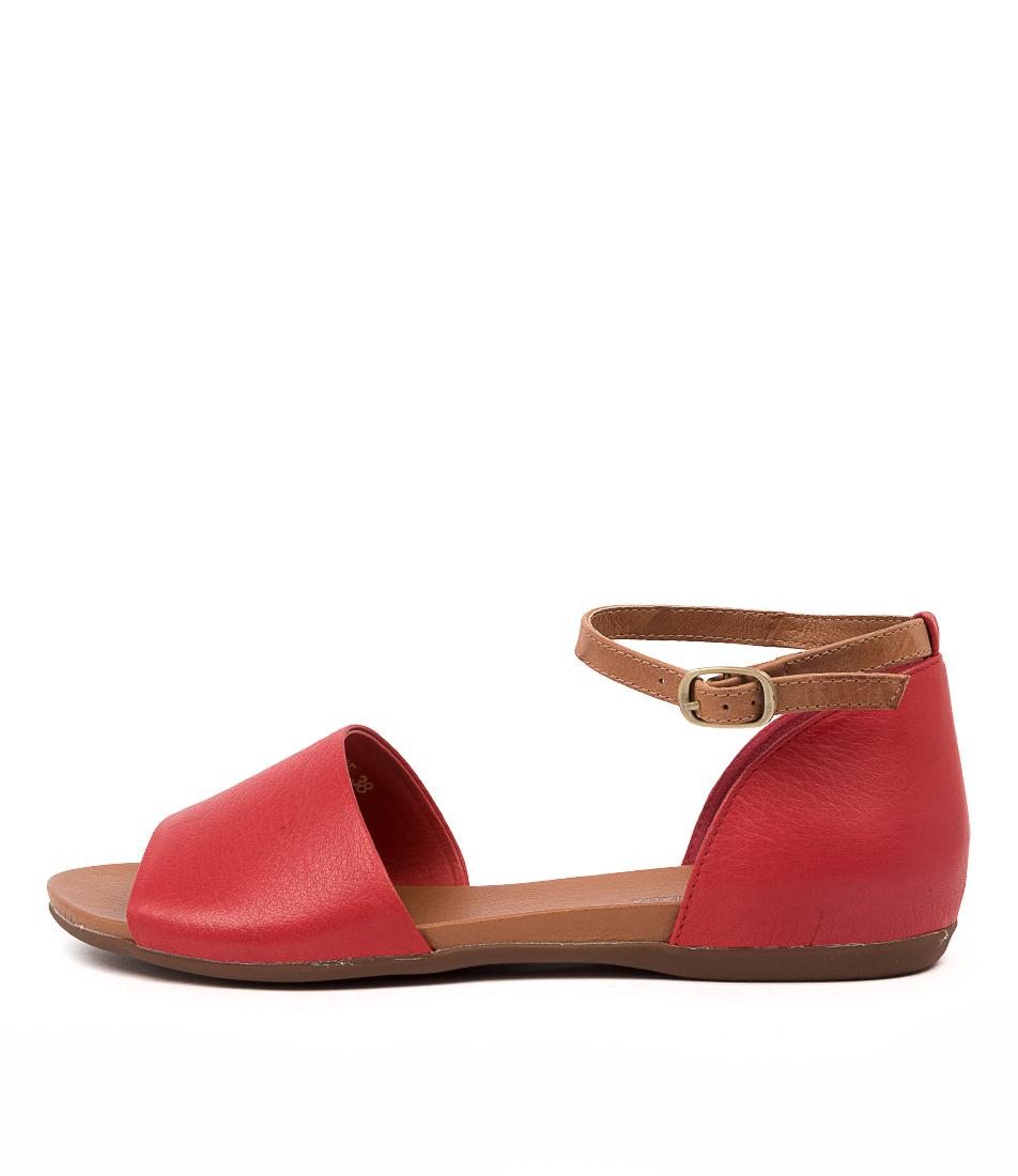 Buy Django & Juliette Bimere Red Dk Tan Flat Sandals online with free shipping