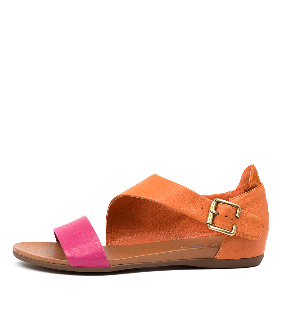 Buy Django & Juliette Bereds Fuchsia Bright Orange Flat Sandals online with free shipping