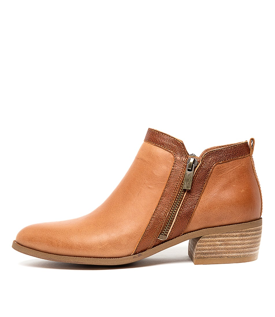 Buy Django & Juliette Caryl Tan Tan & Bronze Ankle Boots online with free shipping