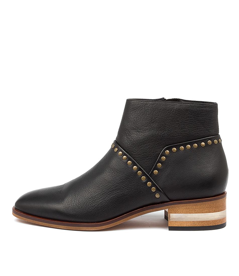 Buy Django & Juliette Florine Black Natural Heel Ankle Boots online with free shipping