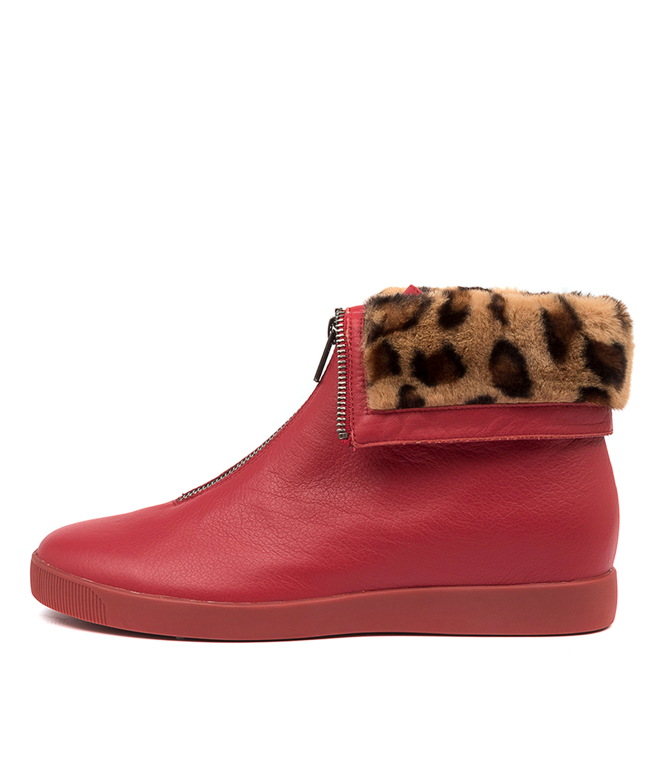 Buy Django & Juliette Glennie Red Black Fur Ankle Boots online with free shipping