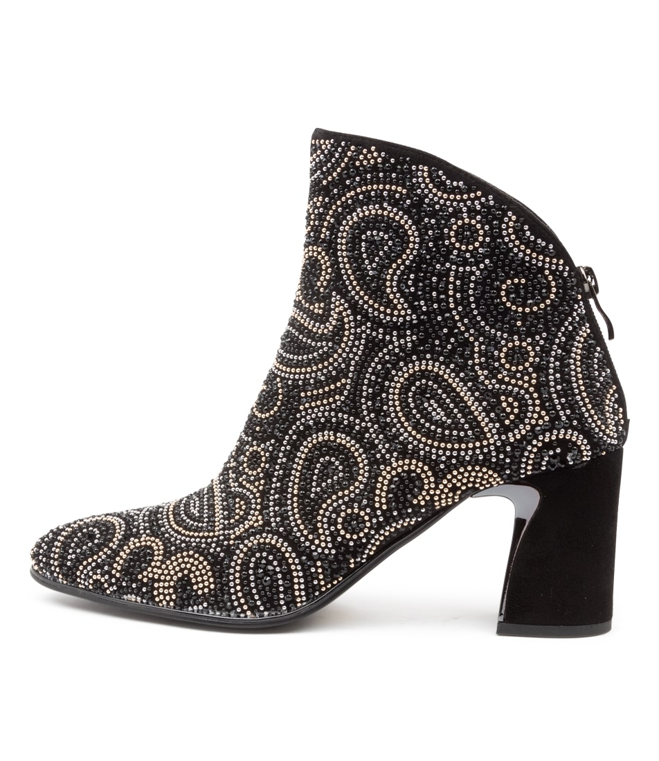 Buy Django & Juliette Kandace Black Paisley Ankle Boots online with free shipping