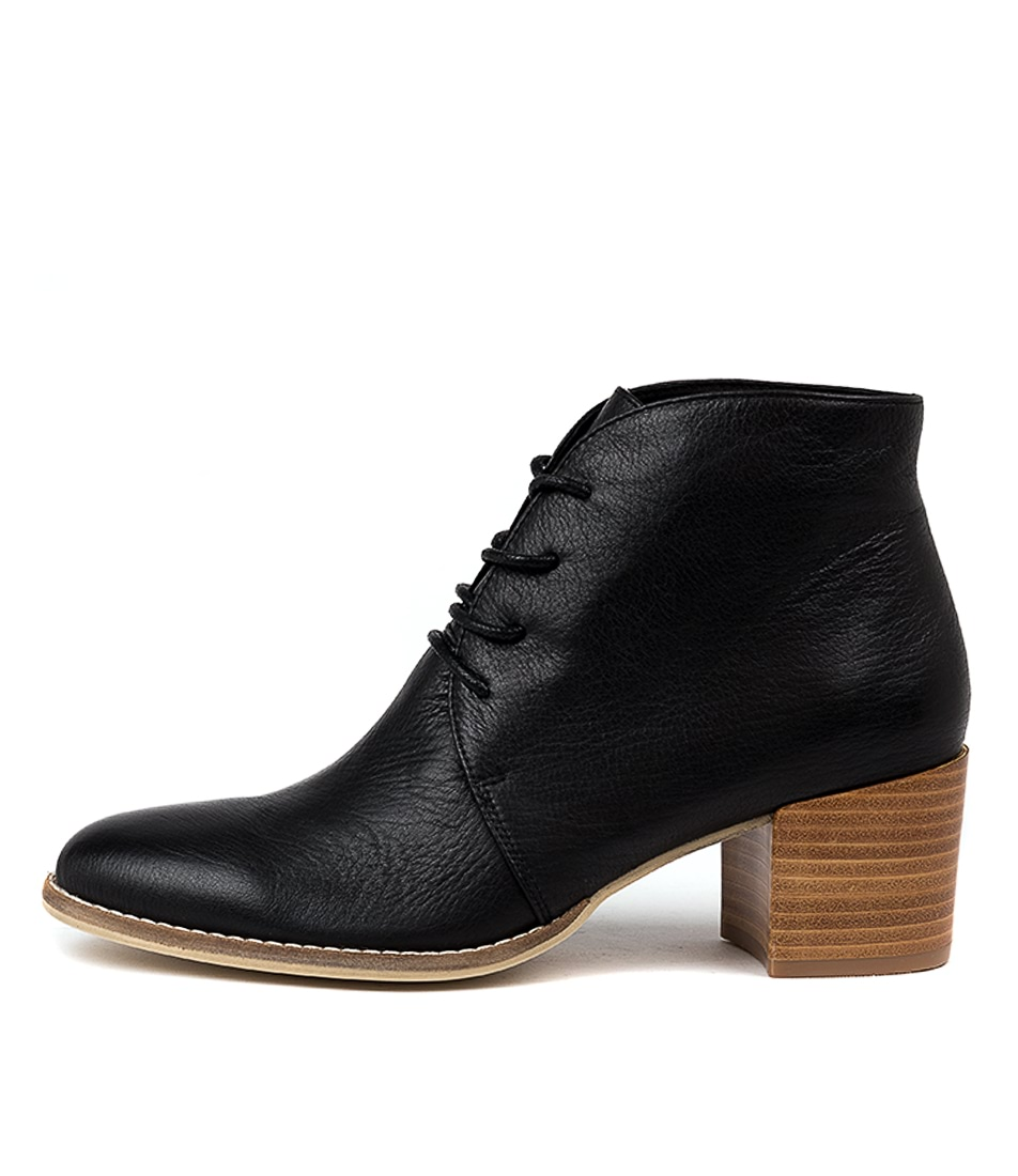 Buy Django & Juliette Mahalie Black Natural Heel Ankle Boots online with free shipping