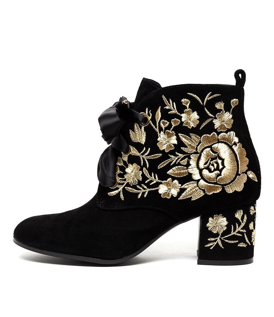 Buy Django & Juliette Nedras Black Gold Embr Dress Ankle Boots online with free shipping