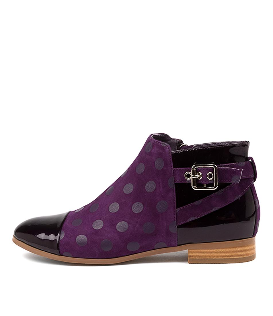 Buy Django & Juliette Jesie Purple Purple Dot Ankle Boots online with free shipping