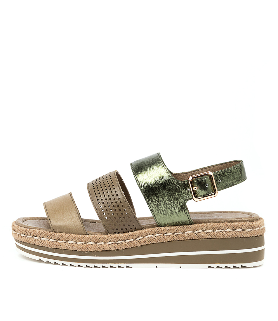 Buy Django & Juliette Akidnat Dj Khaki Olive Flat Sandals online with free shipping