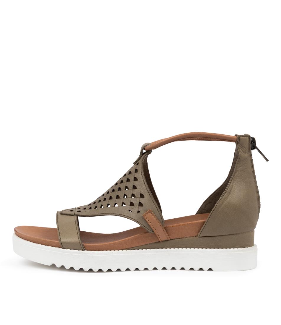 Buy Django & Juliette Alfronze Dj Khaki Dk Tan Heeled Sandals online with free shipping