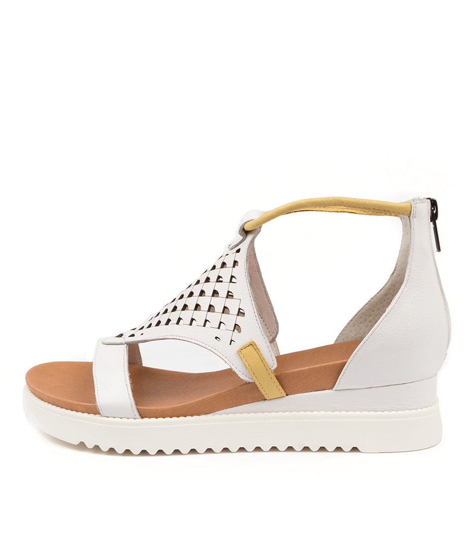 Buy Django & Juliette Alfronze Dj White Yellow Heeled Sandals online with free shipping