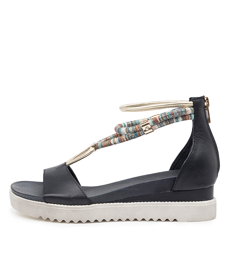 Buy Django & Juliette Arness Dj Navy Heeled Sandals online with free shipping