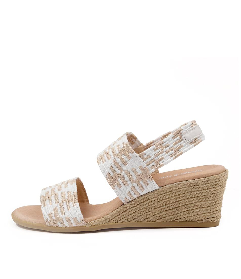 Buy Django & Juliette Bloomy Dj Natural & White White Heeled Sandals online with free shipping