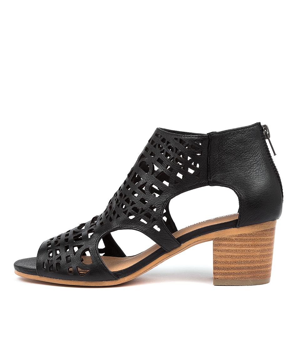 Buy Django & Juliette Boris Dj Black Natural Heel Heeled Sandals online with free shipping