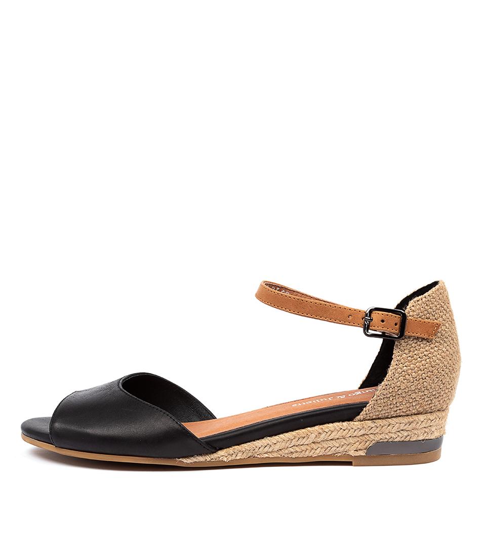 Buy Django & Juliette Cheryls Dj Black Tan Flat Sandals online with free shipping