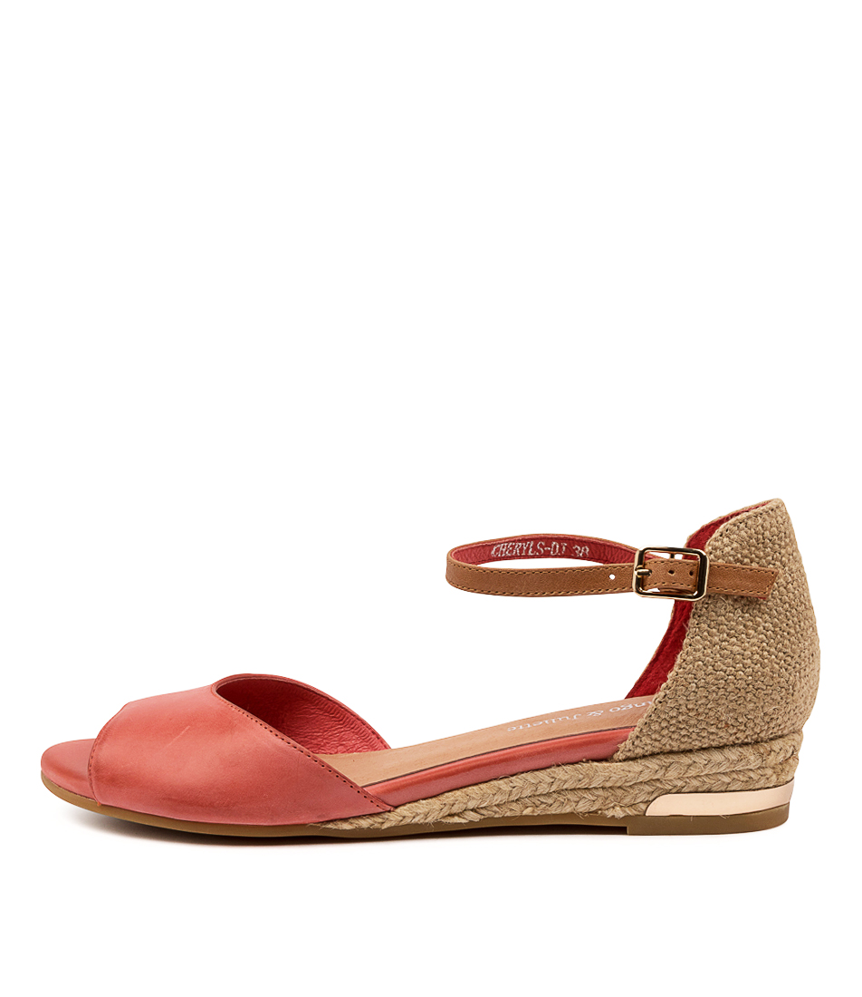 Buy Django & Juliette Cheryls Dj Orange Tan Flat Sandals online with free shipping