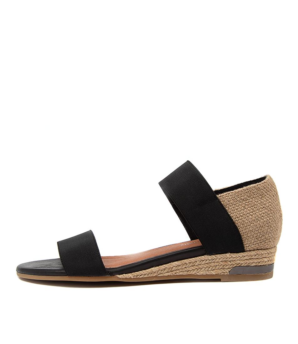 Buy Django & Juliette Cicero Dj Black Hessian Flat Sandals online with free shipping