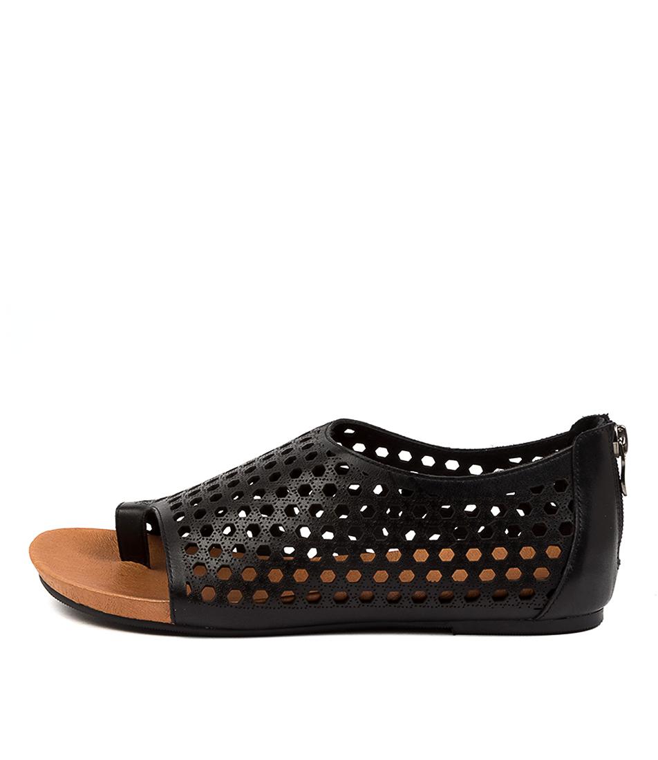 Buy Django & Juliette Daiser Dj Black Flat Sandals online with free shipping
