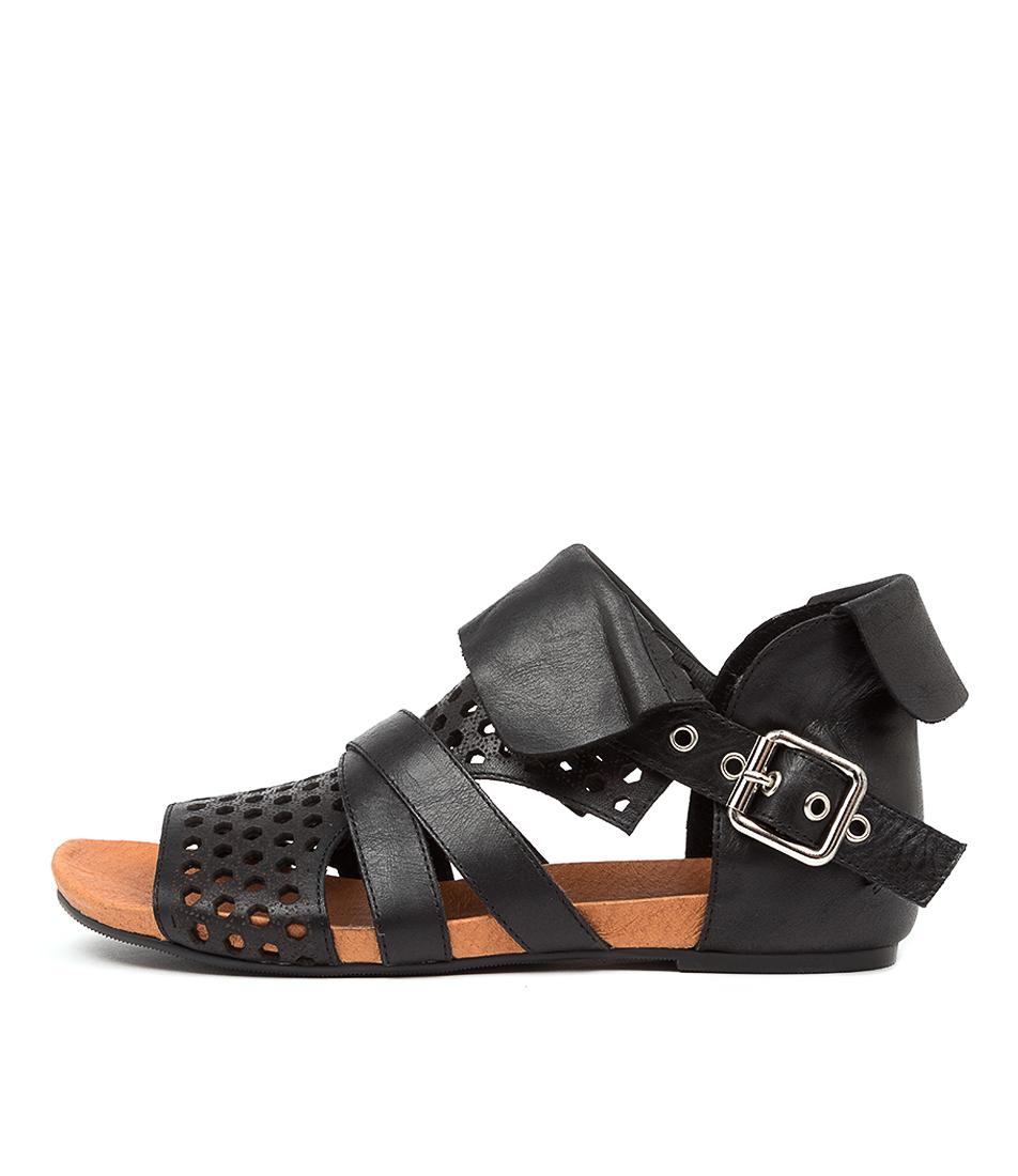 Buy Django & Juliette Dwan Dj Black Flat Sandals online with free shipping