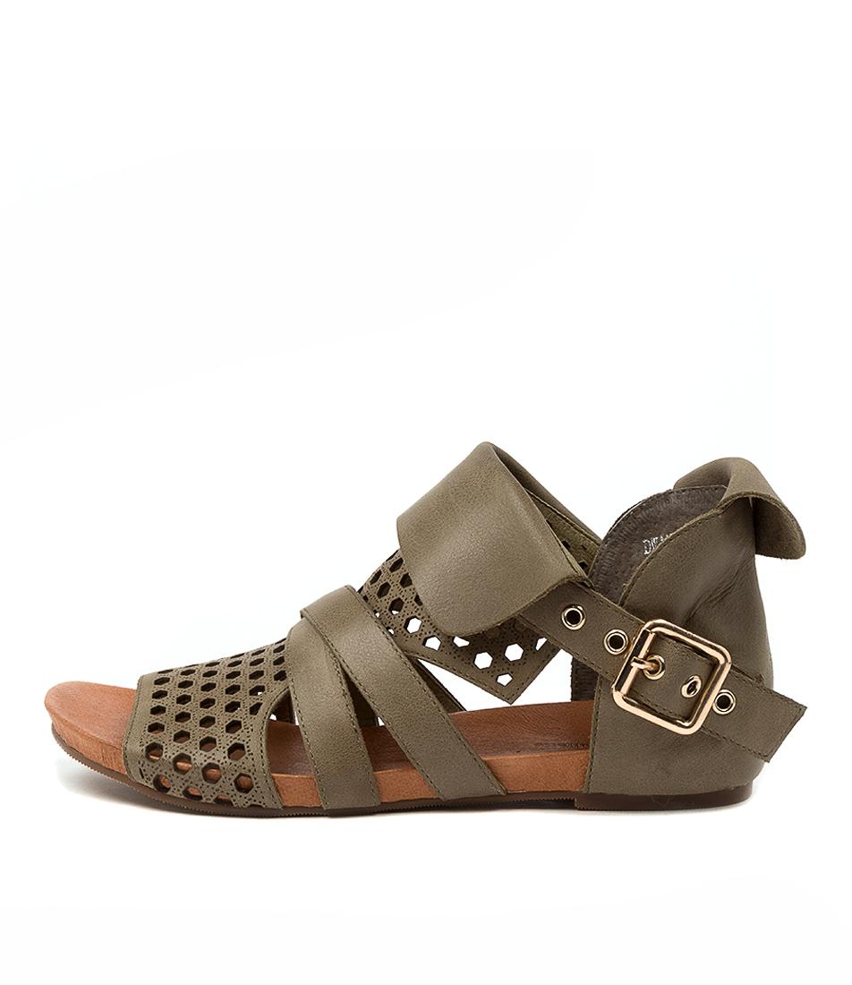 Buy Django & Juliette Dwan Dj Khaki Flat Sandals online with free shipping