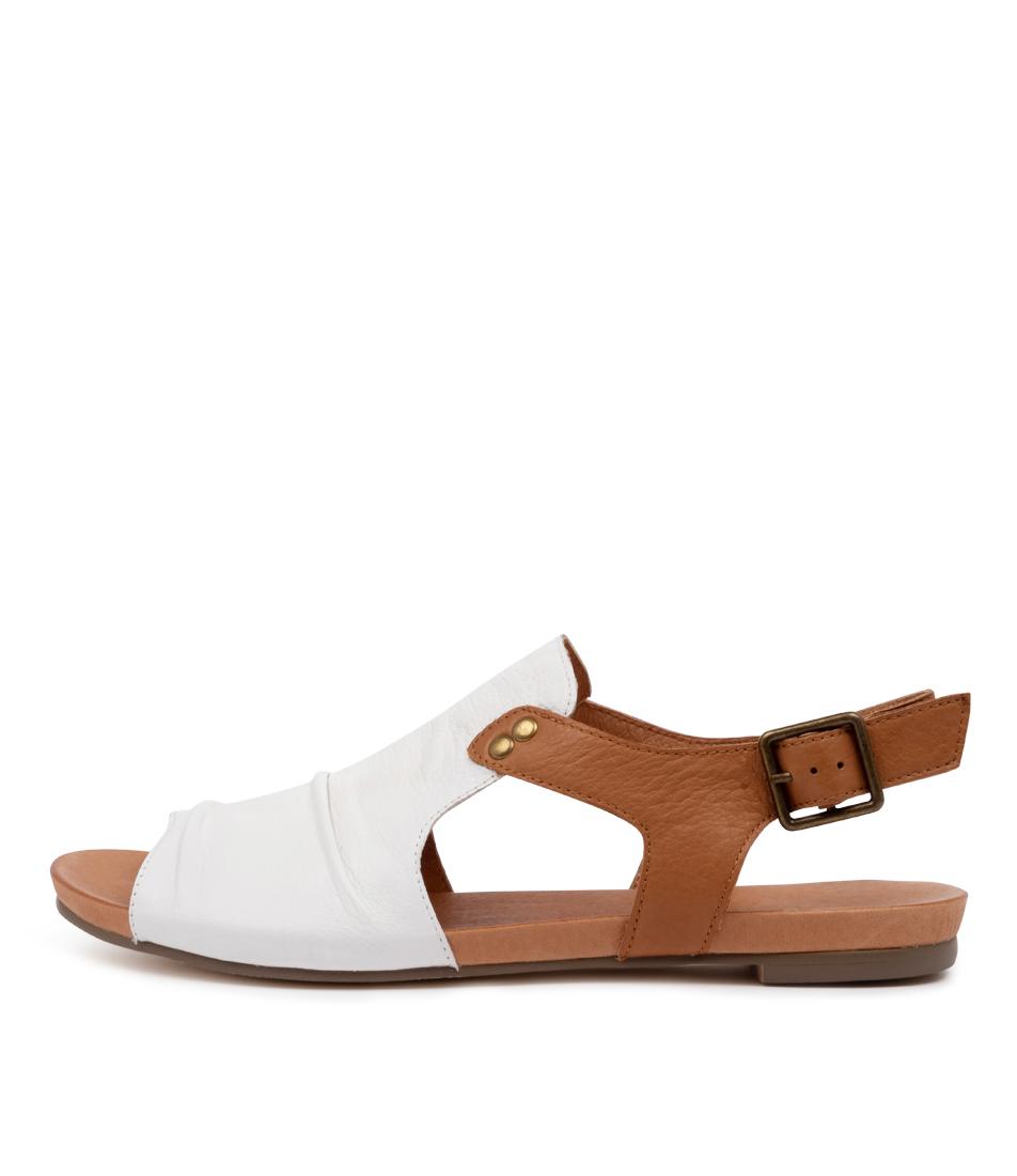 Buy Django & Juliette Jered Dj White Dk Tan Flat Sandals online with free shipping