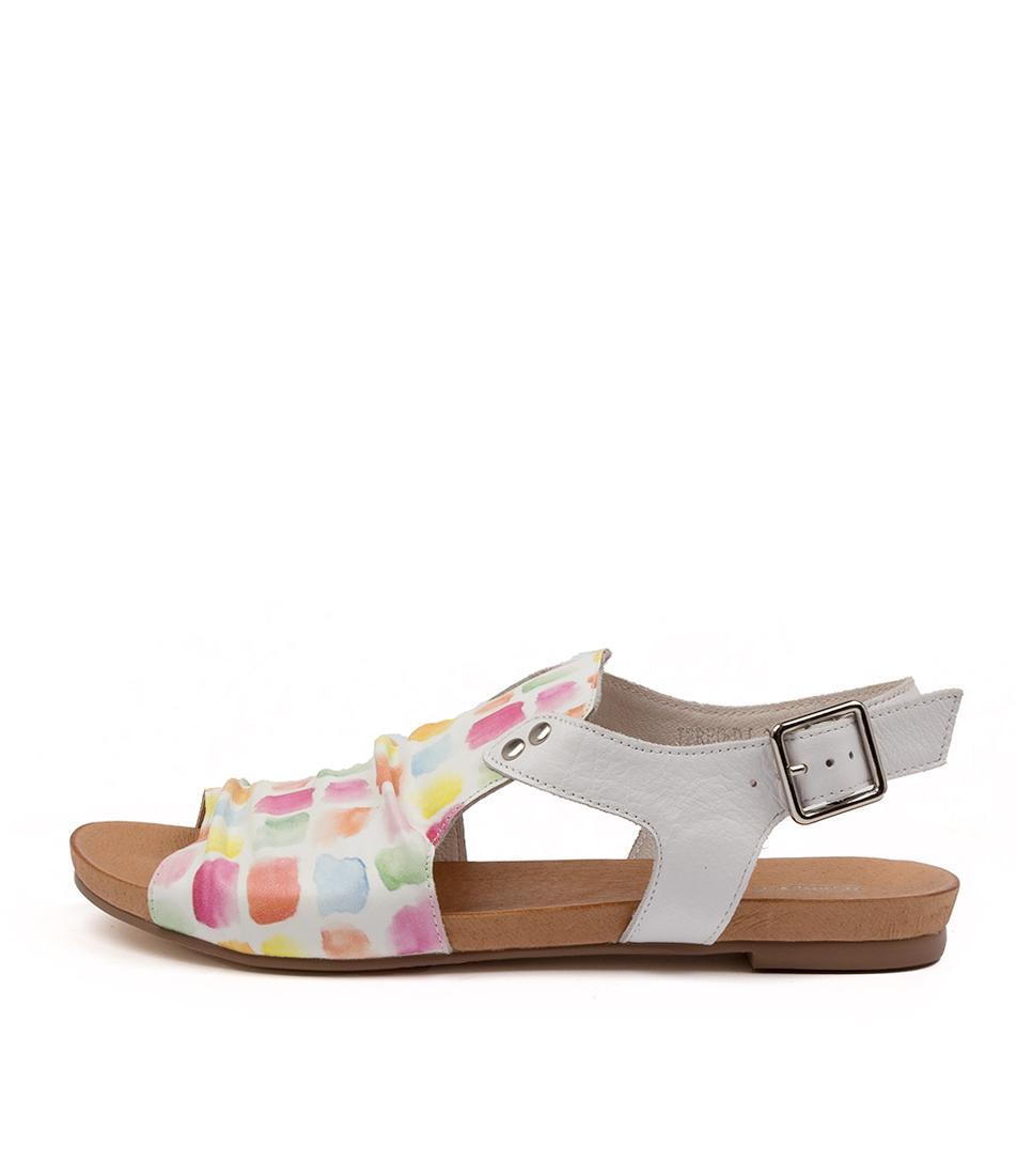 Buy Django & Juliette Jered Dj Paint Print White Flat Sandals online with free shipping