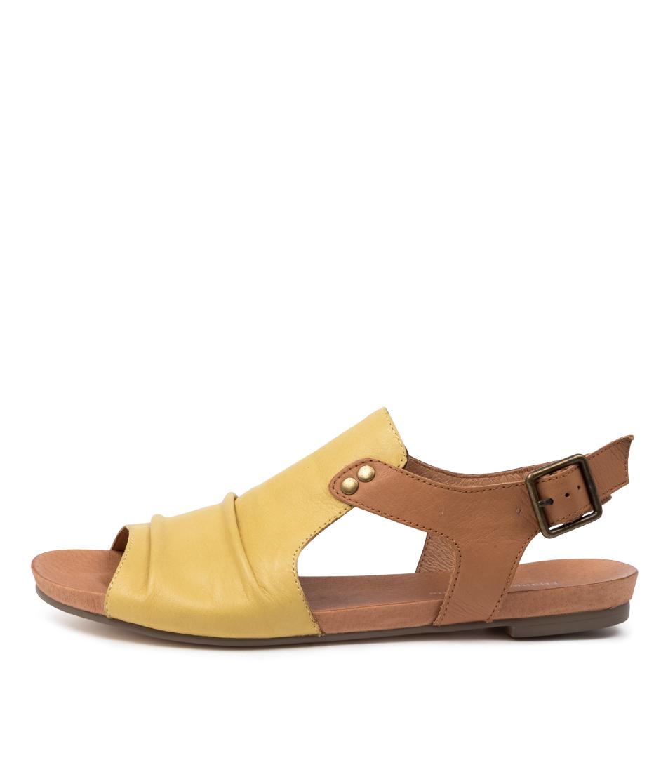Buy Django & Juliette Jered Dj Lt Yellow Dk Tan Flat Sandals online with free shipping