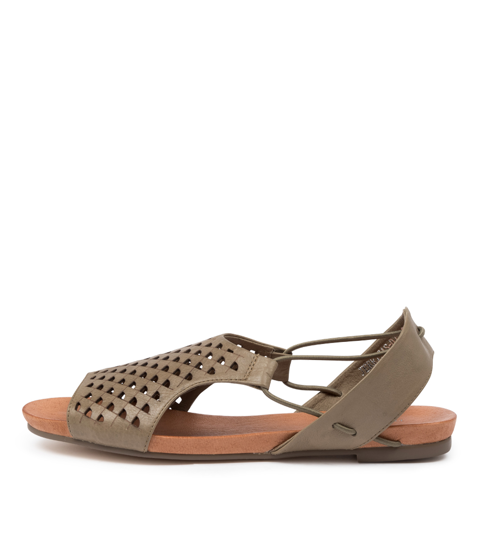 Buy Django & Juliette Jerricas Dj Khaki Flat Sandals online with free shipping