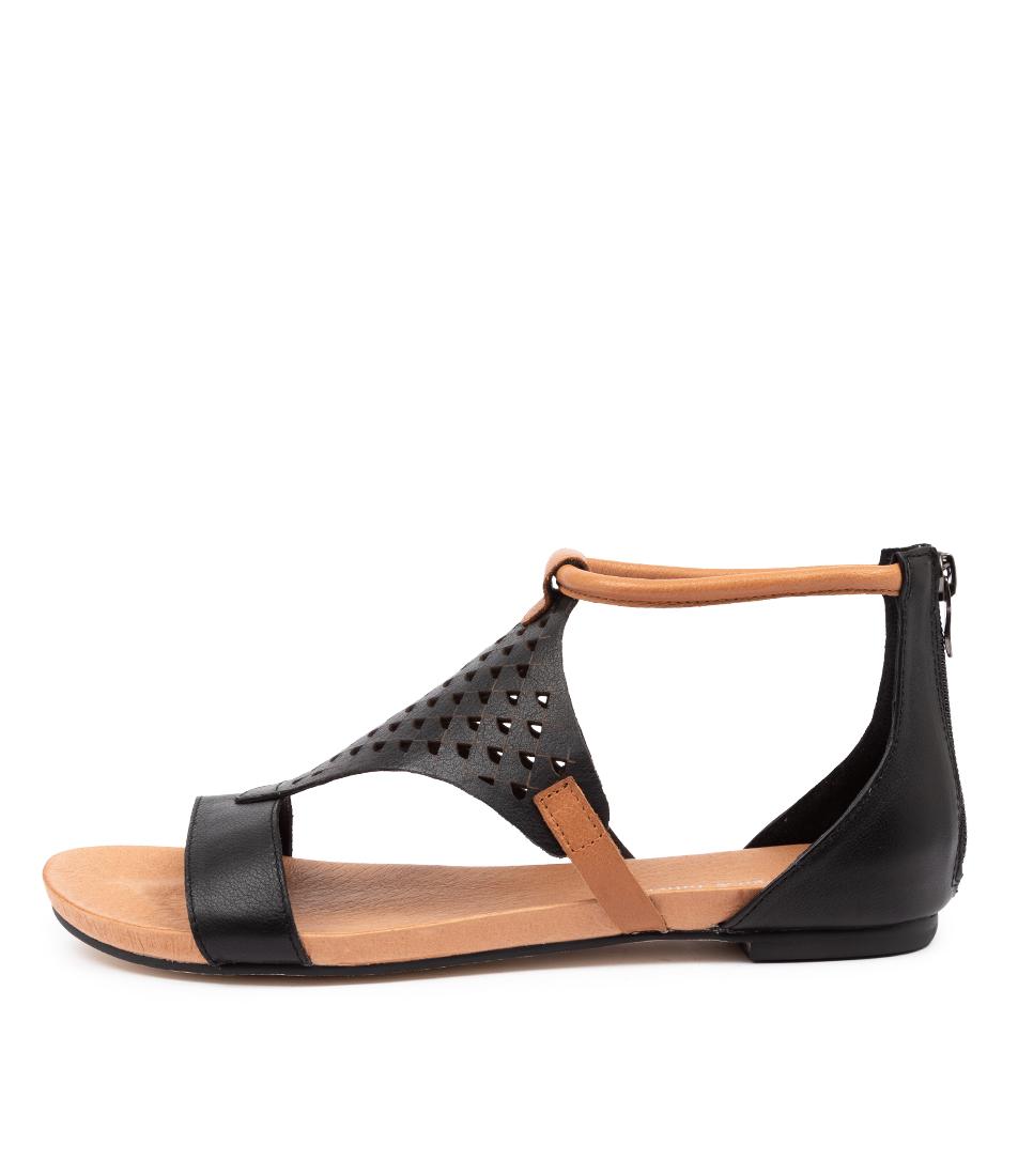 Buy Django & Juliette Jerrod Dj Black Dk Tan Flat Sandals online with free shipping