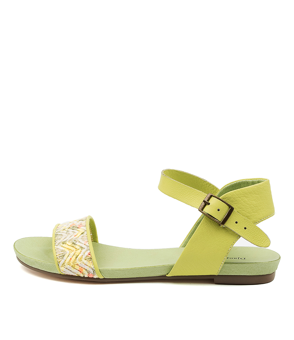 Buy Django & Juliette Jine Dj Bright Lime Flat Sandals online with free shipping