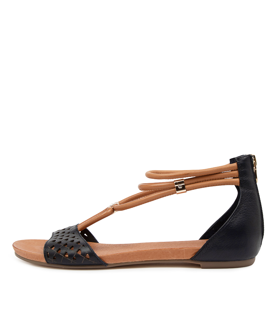 Buy Django & Juliette Jocelyn Dj Navy Dk Tan Flat Sandals online with free shipping
