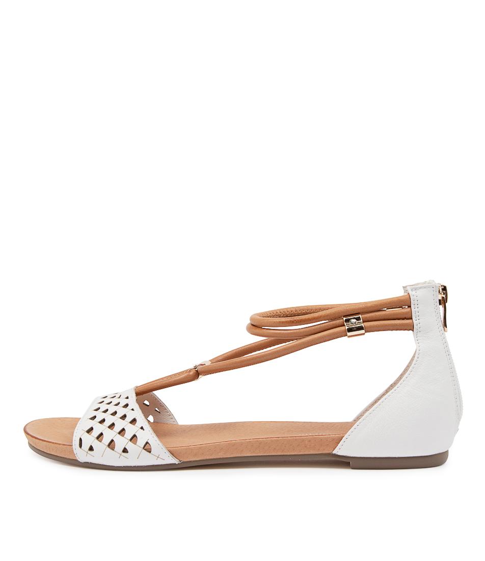 Buy Django & Juliette Jocelyn Dj White Dk Tan Flat Sandals online with free shipping
