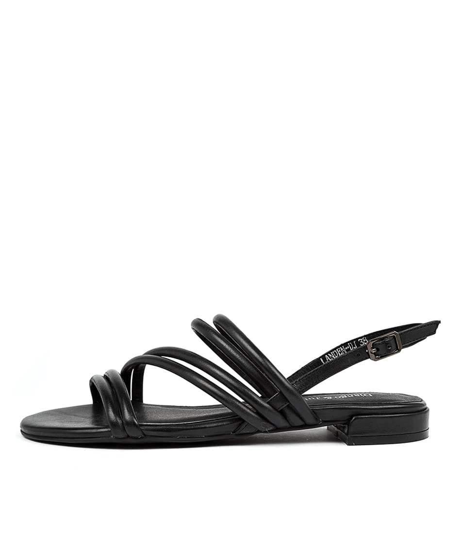 Buy Django & Juliette Landen Dj Black Flat Sandals online with free shipping