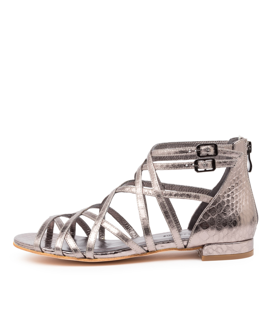 Buy Django & Juliette Larkin Dj Pewter Flat Sandals online with free shipping