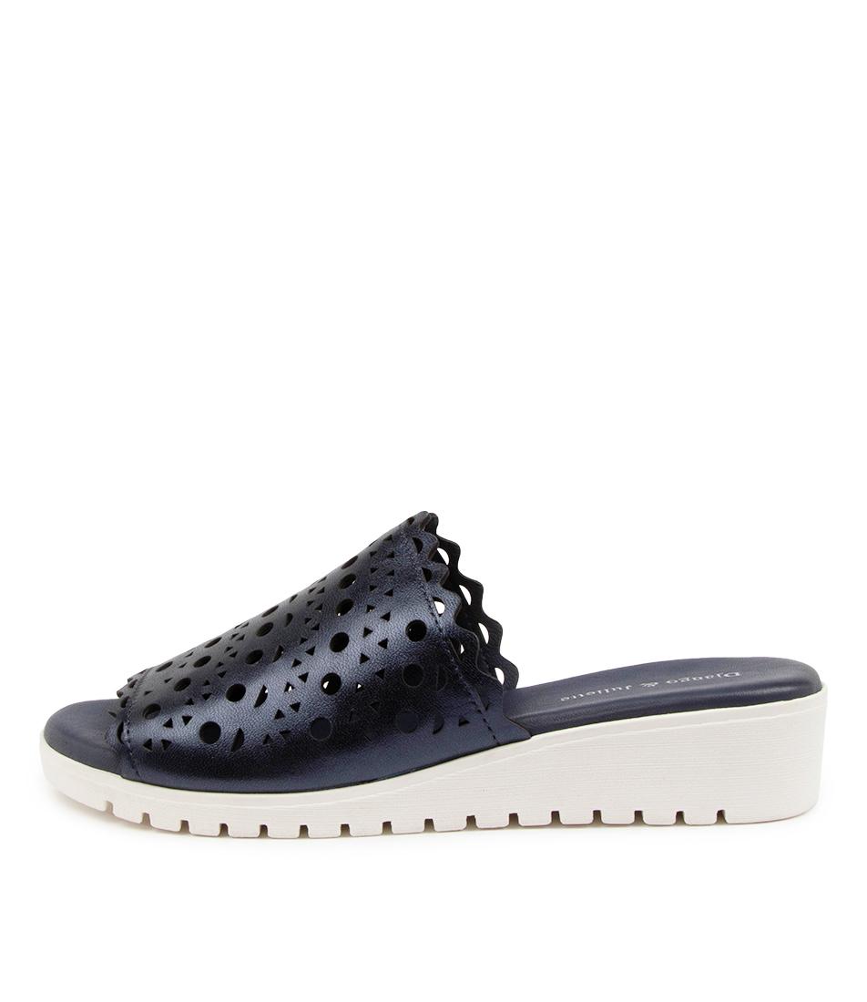 Buy Django & Juliette Machell Dj Navy Metallic White Sole Flat Sandals online with free shipping