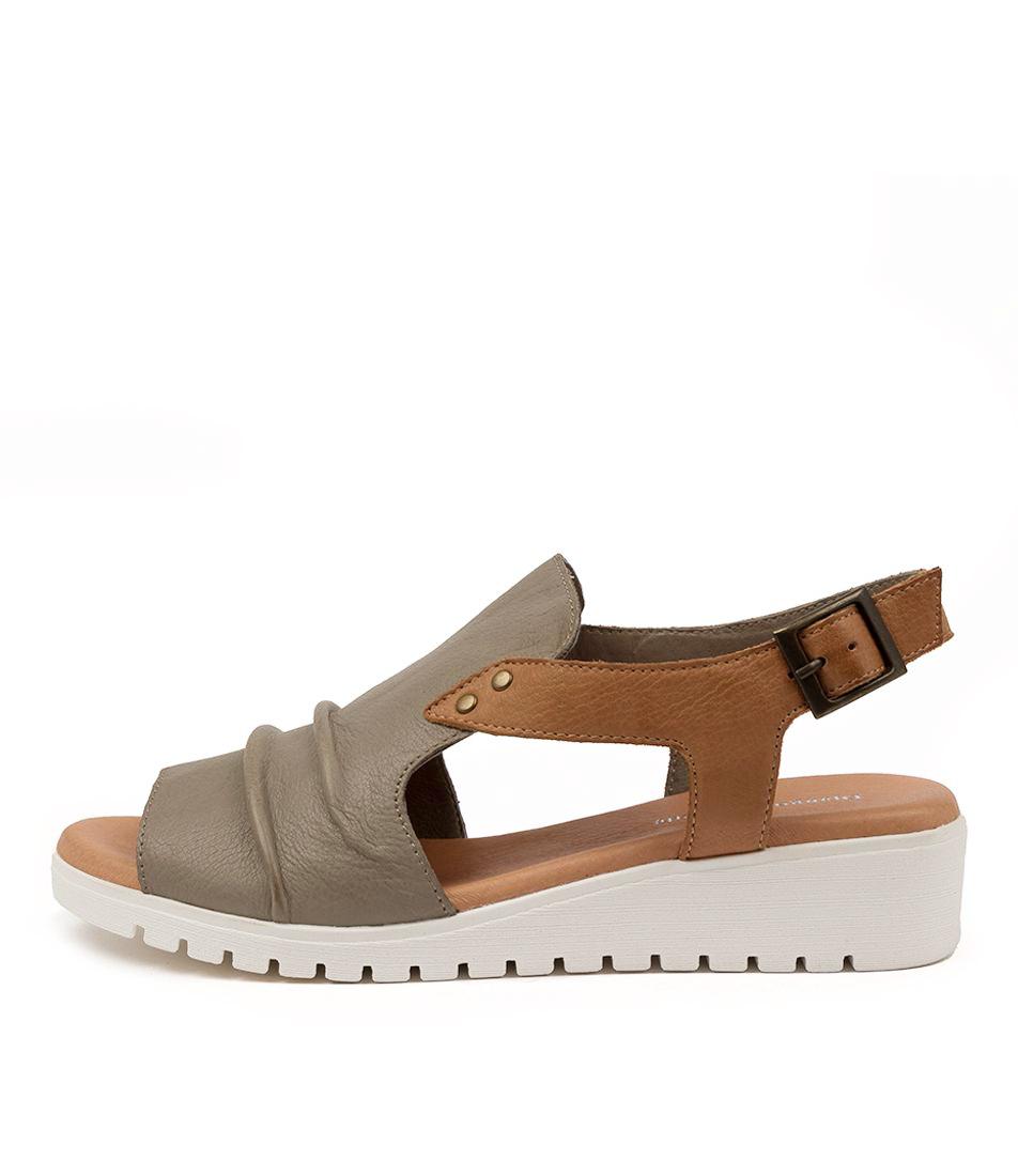 Buy Django & Juliette Madis Dj Khaki Dk Tan White Sole Flat Sandals online with free shipping