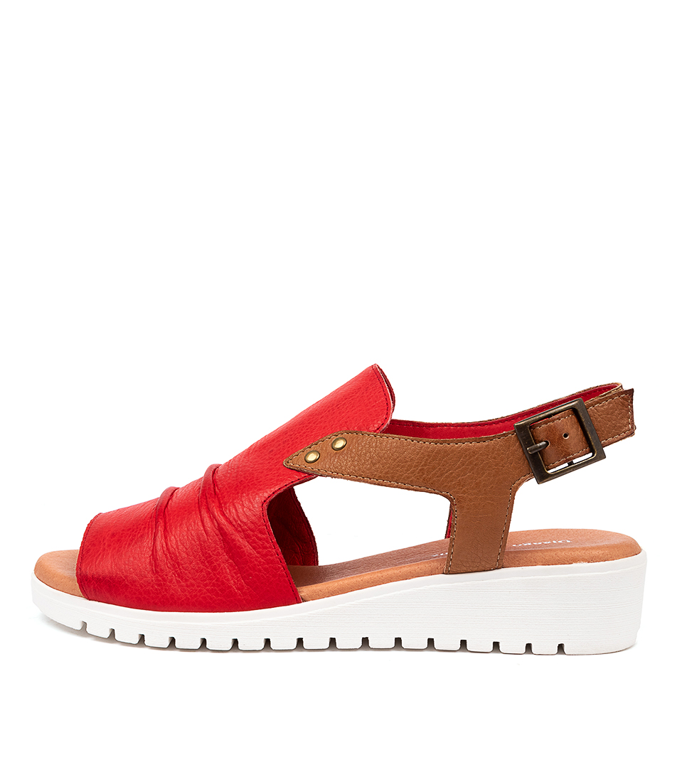 Buy Django & Juliette Madis Dj Red Dk Tan Flat Sandals online with free shipping