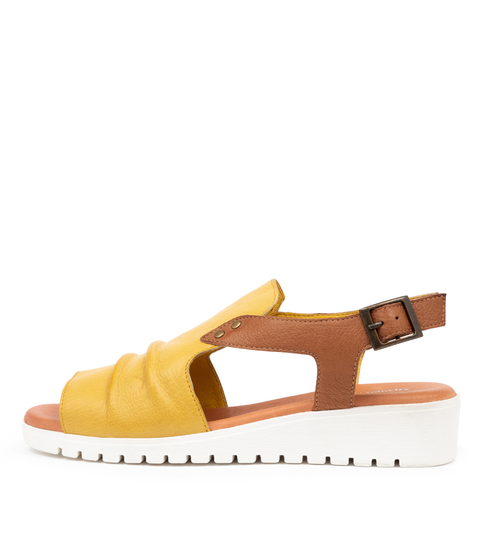 Buy Django & Juliette Madis Dj Lt Yellow Dk Tan Flat Sandals online with free shipping