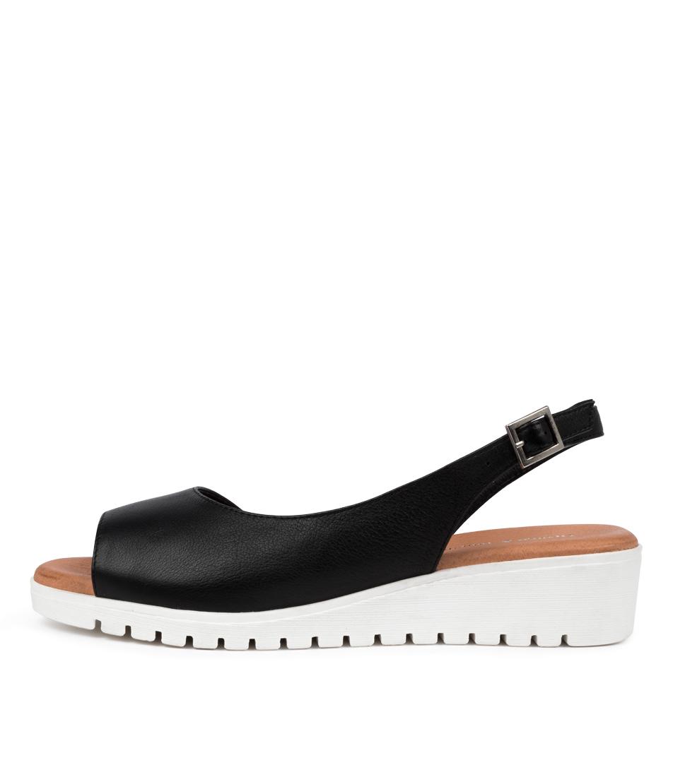 Buy Django & Juliette Mitzi Dj Black White Sole Flat Sandals online with free shipping