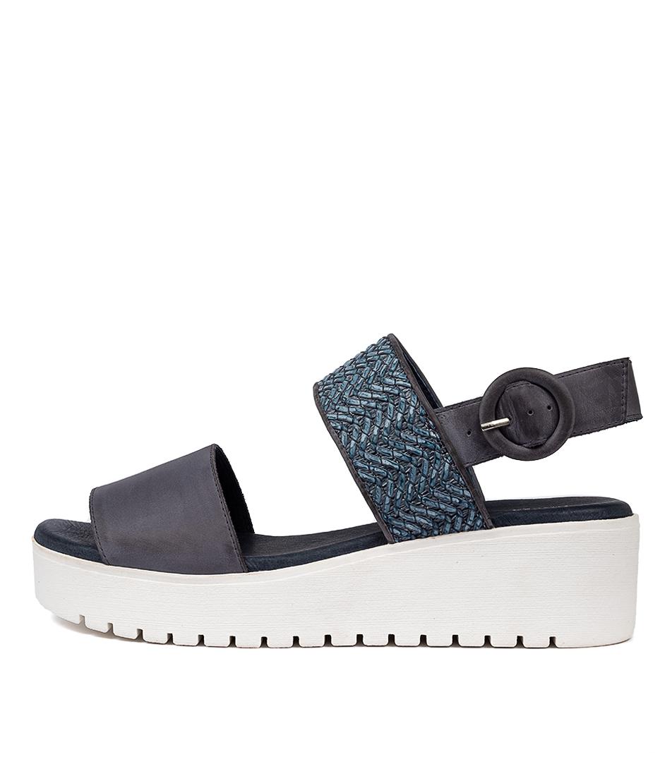 Buy Django & Juliette Orsome Dj Navy Navy Flat Sandals online with free shipping
