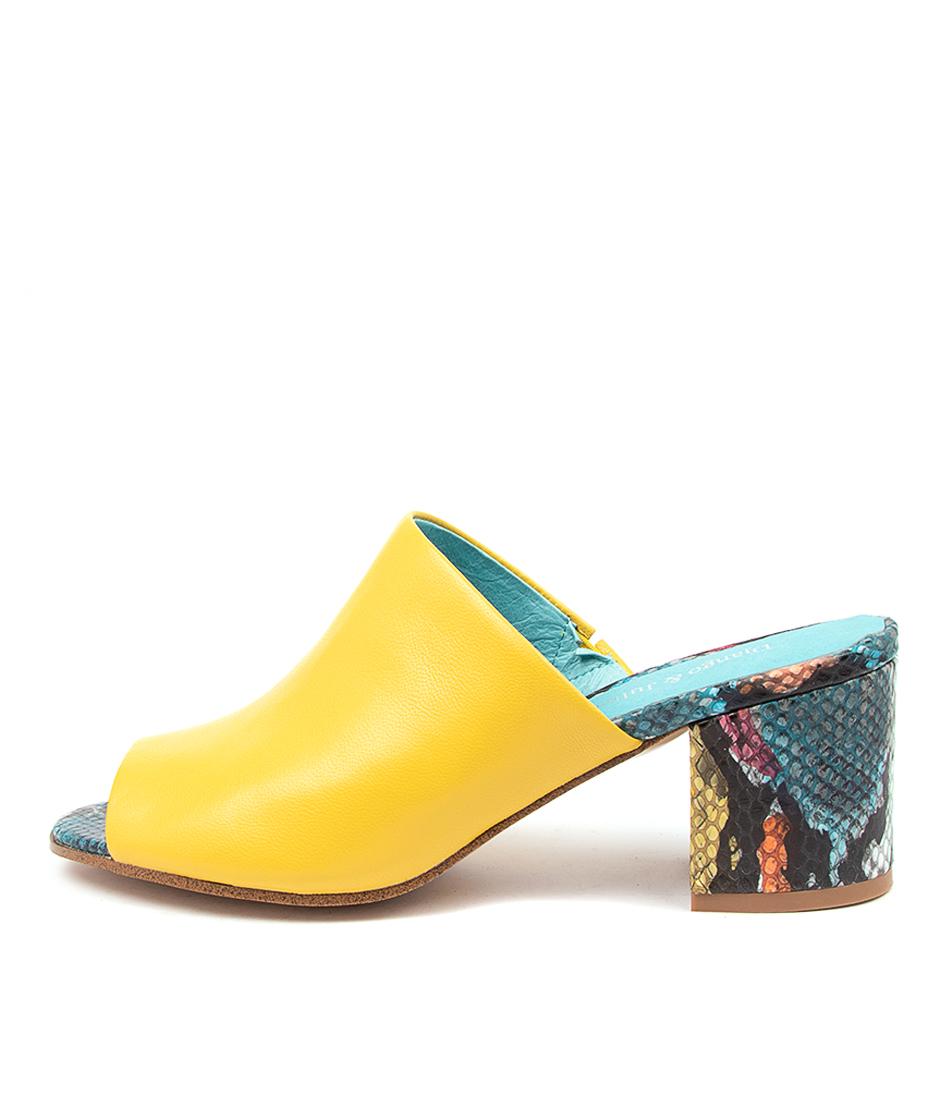 Buy Django & Juliette Rahn Dj Yellow Turquoise Heeled Sandals online with free shipping